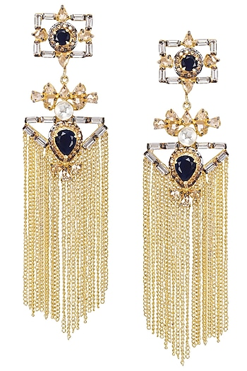 Gold Plated Baguettes and Blue Stone Tassel Earrings by Nepra by Neha Goel
