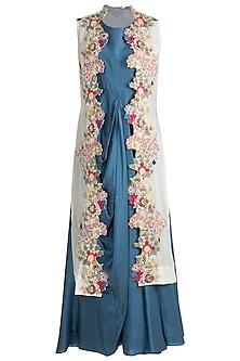 Sea Blue Draped Dress With Off White Embroidered Jacket by Neha Vaswani