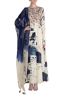 Off White & Blue Printed Embroidered Anarkali With Dupatta by Neha Vaswani