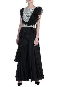 Black embroidered anarkali gown set by NEHA VASWANI