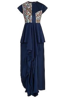 Navy blue embroidered peplum top and skirt by NEHA VASWANI
