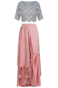 Rose pink embroidered crop top with pants by NEHA VASWANI