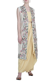 Mustard lime green embroidered crop top with skirt and jacket by NEHA VASWANI