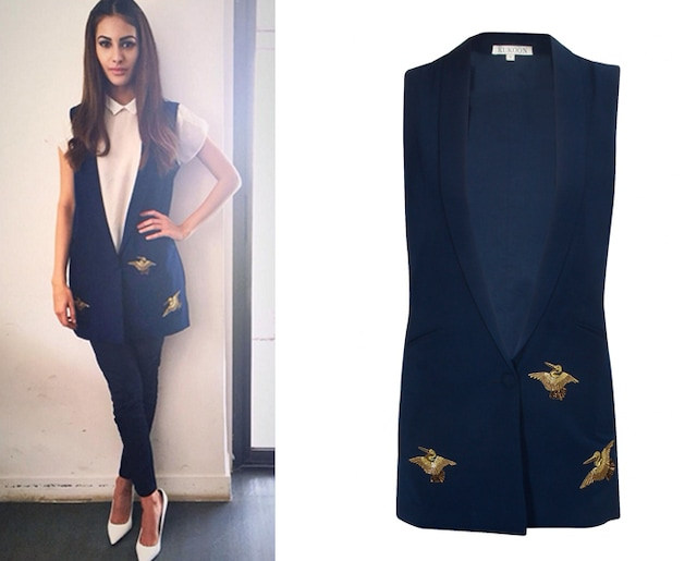 Navy embroidered bird motifs waistcoat by kukoon