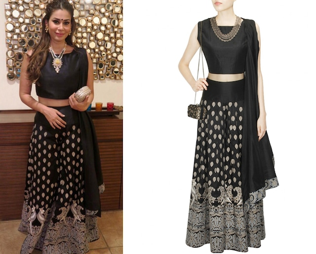 Black Mithu Embroidered Crop Top and Sharara Set by Surendri by Yogesh Chaudhary