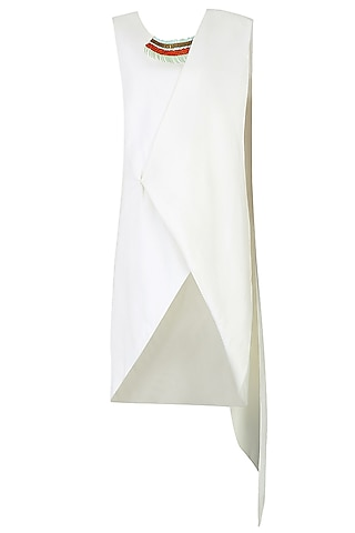 White Plastic Sequinned Wrap Around Tunic Dress by Agami by Neha Agarwal