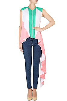 White, Turquoise Blue And Rose Pink Color Blocked Asymmetric Shirt Tunic by Agami by Neha Agarwal