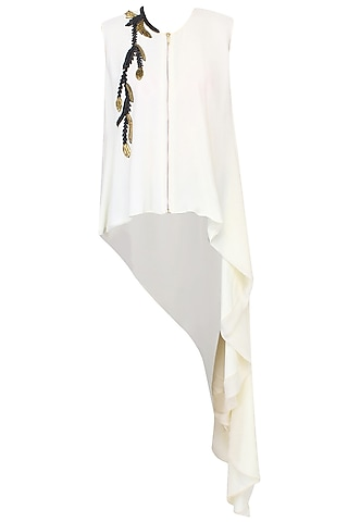 Off White Leather And Gold Metallic Embroidered Asymmetric Shirt Tunic by Agami by Neha Agarwal
