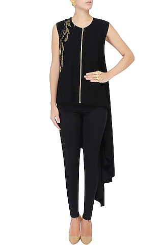 Black Leather And Gold Metallic Embroidered Asymmetric Shirt Tunic by Agami by Neha Agarwal