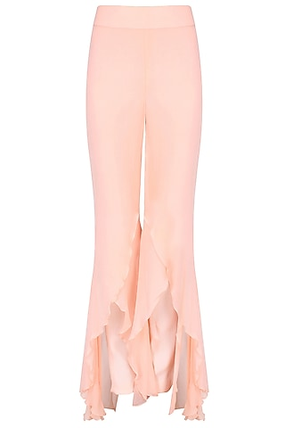 Peach Fit-To-Flare Layered Palazzo Pants by Agami by Neha Agarwal