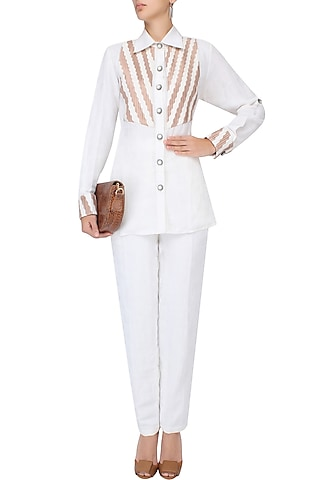 White Square Textured Straight Pants by Agami by Neha Agarwal