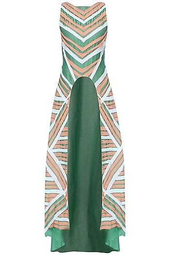 Bottle Green And Peach Striped High Low A-Line Tunic by Agami by Neha Agarwal