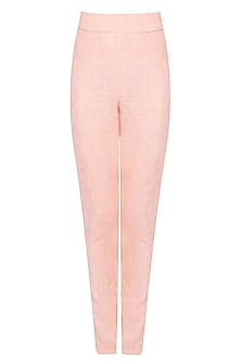 Peach Textured Straight Pants by Agami by Neha Agarwal