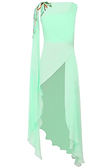 Mint Green Sequinned Asymmetric Tunic by Agami by Neha Agarwal