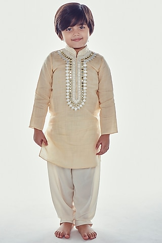 Beige Embroidered Kurta Set by Neha Gursahani