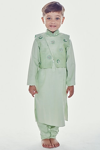 Mint Green Embroidered Kurta Set by Neha Gursahani