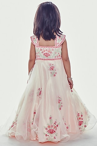 Light Pink Embroidered Gown by Neha Gursahani