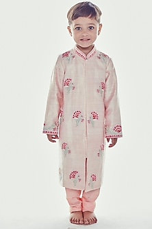 Light Pink Embroidered Sherwani Set by Neha Gursahani