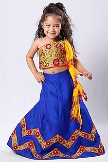 Royal Blue Mirror Embroidered Lehenga Set by Neha Gursahani