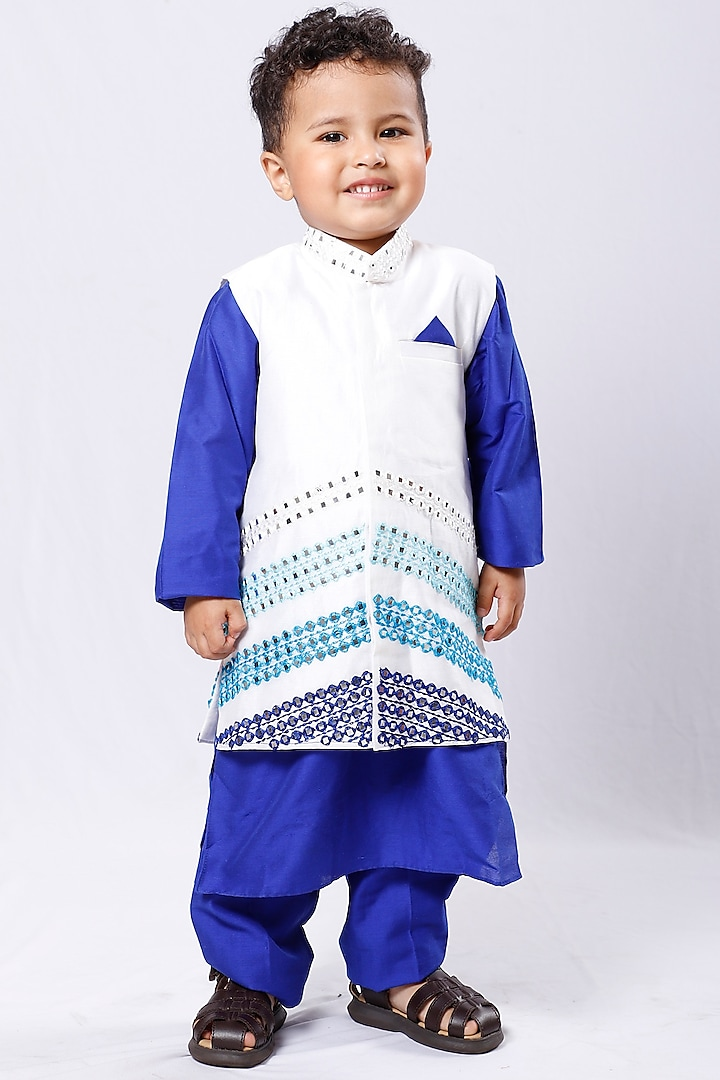 Royal Blue Kurta Set With Embroidered Waistcoat by Neha Gursahani