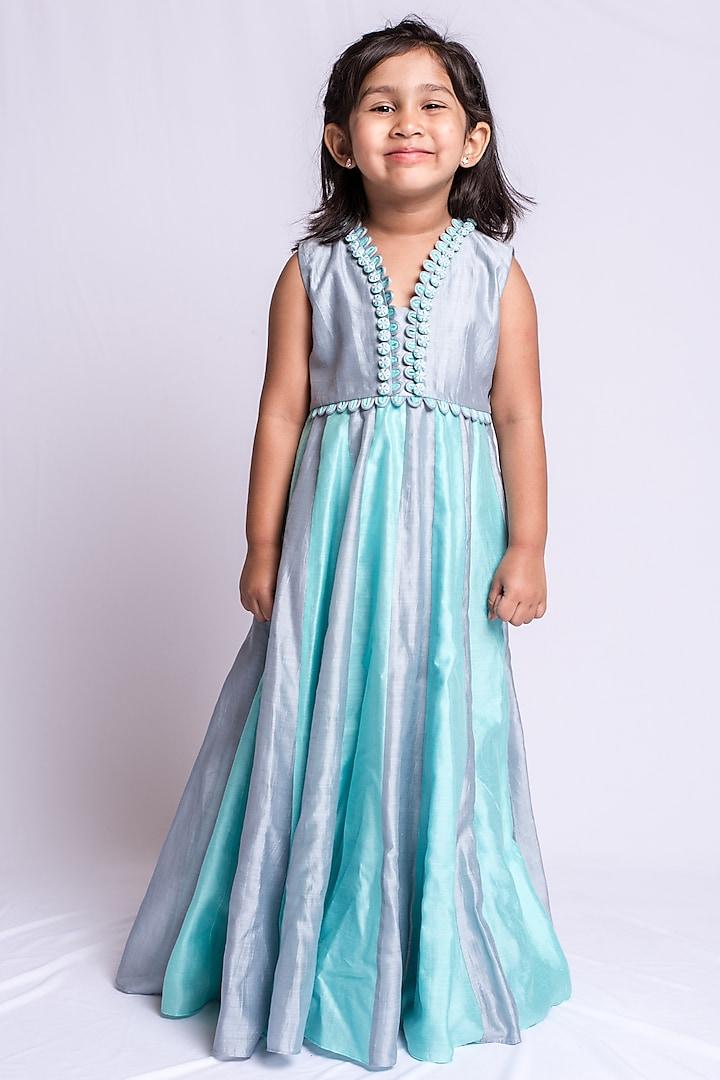 Grey & Sky Blue Embroidered Anarkali Dress by Neha Gursahani