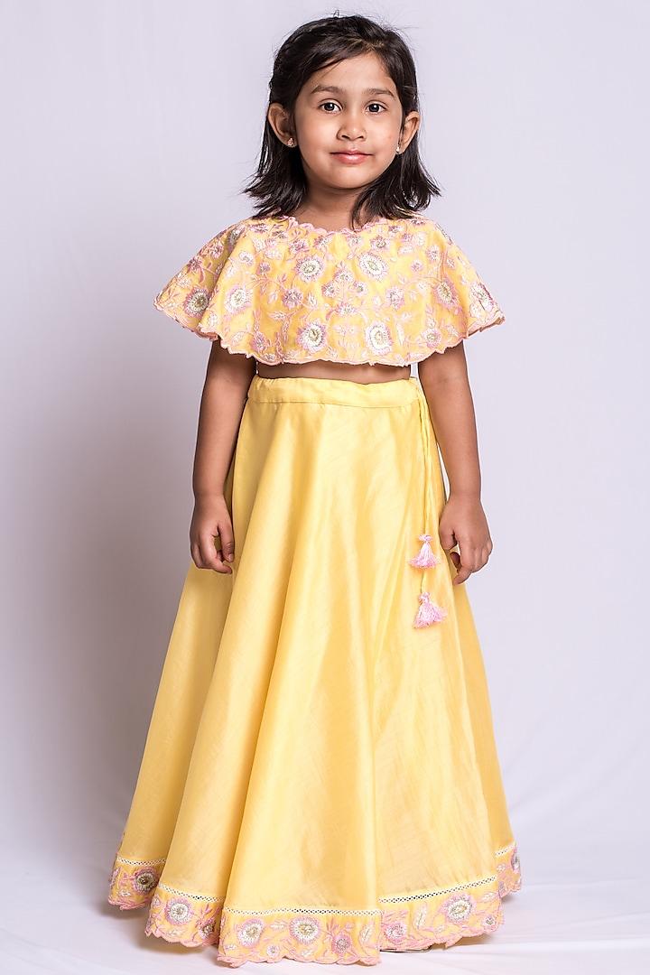 Bright Yellow Embroidered Skirt Set by Neha Gursahani