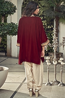 Maroon & Ivory Embroidered Kurta Set by Ranian