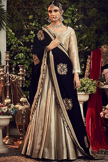 Silver & Midnight Blue Embroidered Lehenga Set by Ranian