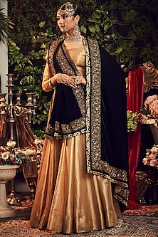 Gold & Midnight Blue Zardosi Embroidered Lehenga Set by Ranian