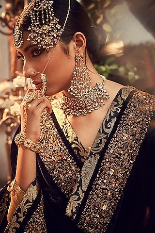 Gold & Midnight Blue Zardosi Embroidered Lehenga Set by Ranian