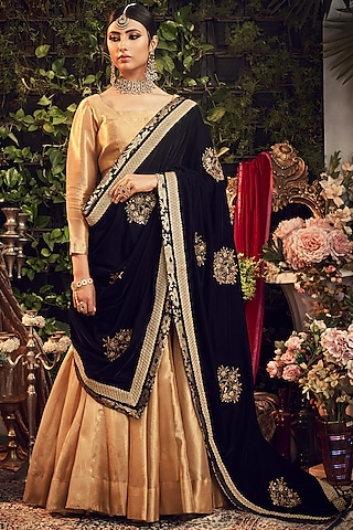 Gold & Midnight Blue Embroidered Lehenga Set by Ranian