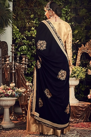 Gold & Midnight Blue Embroidered Gharara Set by Ranian