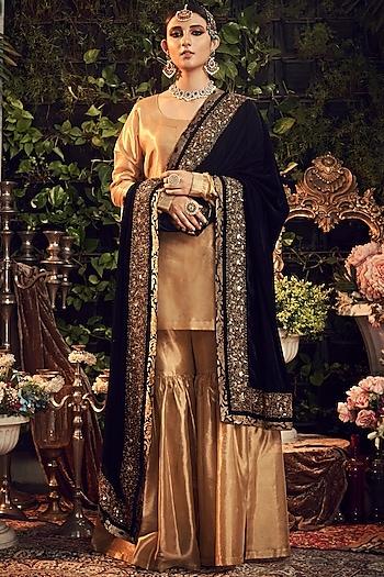 Gold & Midnight Blue Zardosi Embroidered Gharara Set by Ranian
