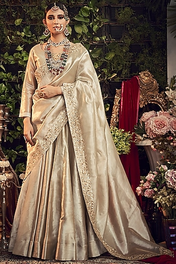 Champagne Silver Embroidered Lehenga Set by Ranian