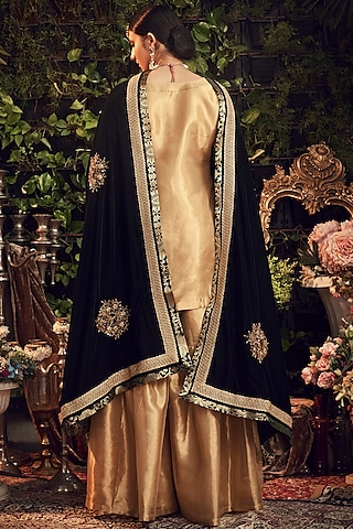 Gold & Emerald Green Embroidered Gharara Set by Ranian