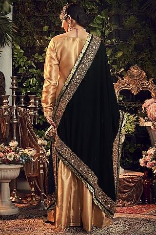 Gold & Emerald Green Zardosi Embroidered Gharara Set by Ranian