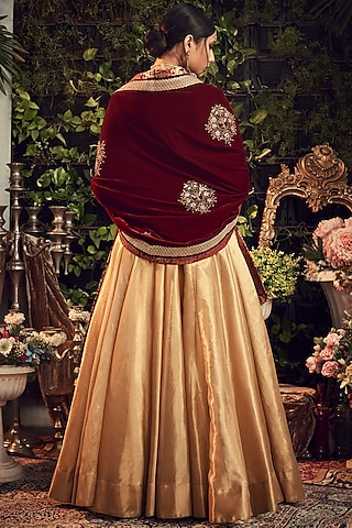 Gold & Maroon Embroidered Lehenga Set by Ranian