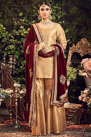 Gold & Maroon Embroidered Gharara Set by Ranian