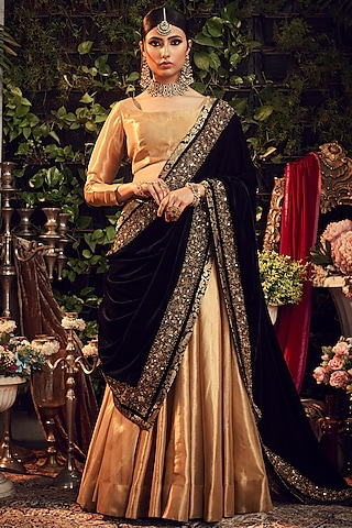 Gold & Black Embroidered Lehenga Set by Ranian