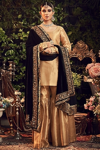 Gold & Black Embroidered Gharara Set by Ranian