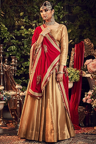 Gold & Crimson Red Embroidered Lehenga Set by Ranian