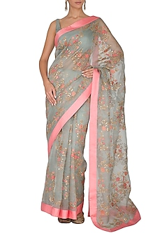 Ash Blue Embroidered Saree Set With Belt by Ranian