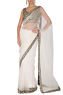 Snow White Embroidered Saree Set by Ranian