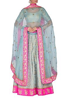Turquoise Blue & Fushia Pink Embroidered Lehenga Set by Ranian
