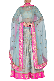 Turquoise Blue & Fushia Pink Embroidered Lehenga Set by Ranian