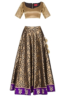 Black & Golden Embroidered Lehenga Set by Ranian