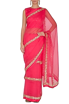 Red Embroidered Saree Set With Belt by Ranian
