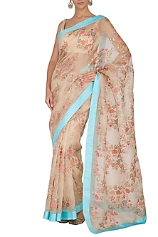 Beige Embroidered Saree Set With Belt by Ranian