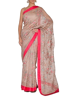 Pink Embroidered Saree Set With Belt by Ranian