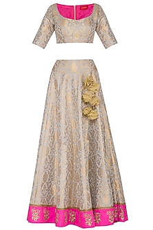Cloud Grey & Gold Embroidered Lehenga Set by Ranian